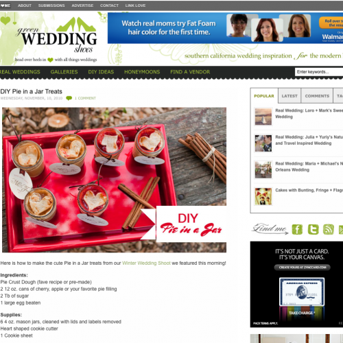 Green Wedding Shoes Feature { Pie in a Jar }